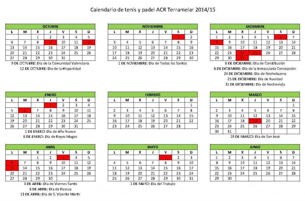 CALENDARIO TENIS Y PADEL 14-15